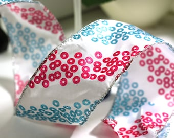 3 yards White Ribbon Blue and Pink Circles, Wire edged ribbon, 2 1/2 inch ribbon, wreath supplies, christmas holiday embellishments, bows