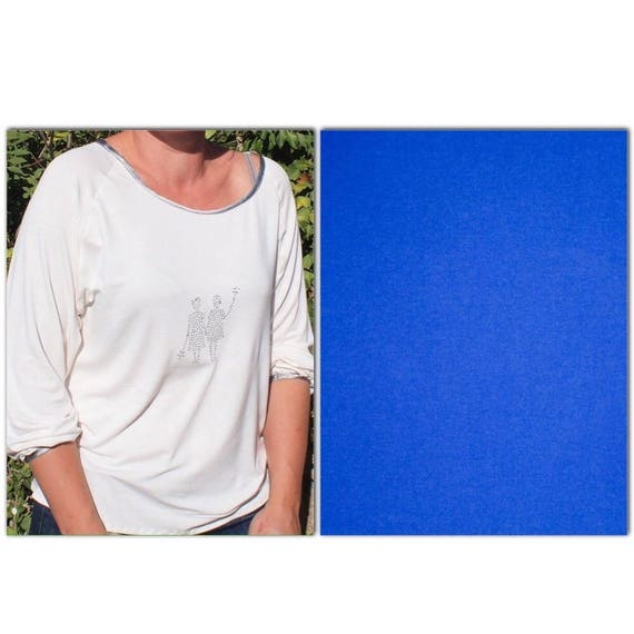 Royal blue jersey/cotton jersey fabric