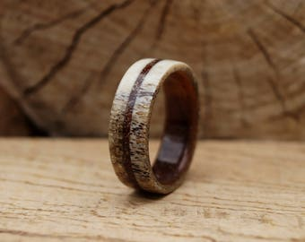 Wooden ring with Deer Antler Ring and Dinosaur Fossil Inlays, Oak wood ring