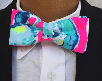 His & Her Lilly Pulitzer Lobsters in Love Bow Tie and Bow Bracelet Set