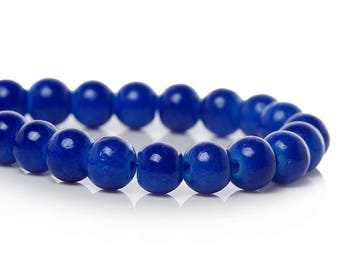 Round glass beads, sapphire blue color - 6 mm -