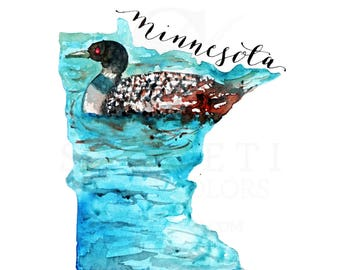 MINNESOTA State Map, Art Print, for the traveller, USA Map, Travel Memento, Travel Souvenir, Christmas Gifts, For Her, Workplace gifts