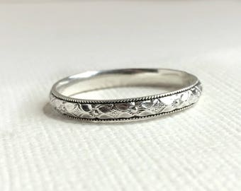 Sterling Silver Ring Diamond Floral Stacking Ring Custom - Silver Wedding Band