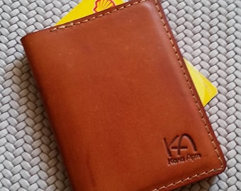 Brown leather card wallet Leather credit card Case Leather business card holder Leather card case