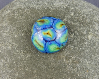 "Lampwork art glass cabochon, ""Rainbow Murrini"", 14.4mm / 0.57 inches across, GBUK, FHFTeam, SRA"