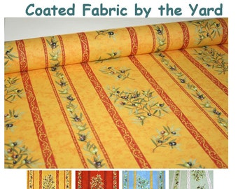 Large 62 inches wide Laminated Coated Fabric by the Yard - Provence Olives Branches in Gold -  Waterproof Acrylic Coated Fabric -