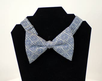 1970s bow tie blue white tuxedo tie big wide bow tie