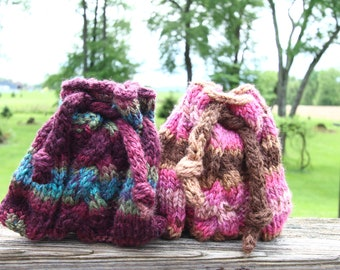 braided cable knit crystal bag