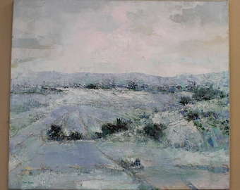 Signed Textured Oil on Linen Landscape Painting