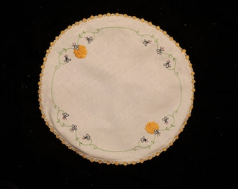 Round Vintage Doily With Hand Embroidered Pumpkins