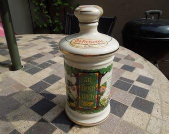 Vintage Whiskey Decanter, Old Fitzgerald, An Irish Wish, Kentucky Straight Bourbon Whiskey Empty Bottle