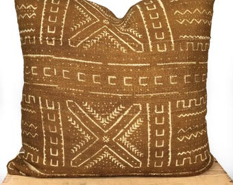 Brown/Tan African Mud Cloth Pillow Cover 18 Inch Square Mudcloth Pillow