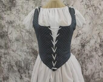 Blue Renaissance Costume-Halloween Costume-Medieval Dress-LARP-Ren Fair-Steampunk-SCA-Adult Costume-Medieval Fantasy Dress-Item #261