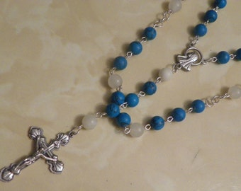 Handmade rosary necklace made with turquoise (imitation) beads and jasper gem stones(.)