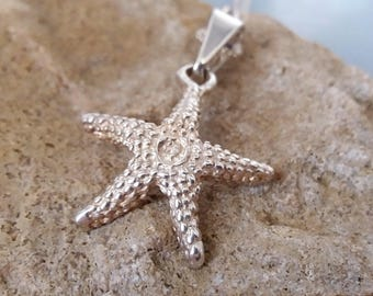 Sterling Silver Starfish Necklace Sea Star Pendant 925 Nautical Jewelry Vintage UK