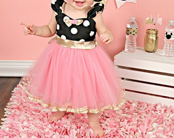 Pink and Gold birthday dress, MINNIE MOUSE birthday outfit, Minnie Mouse dress, Minnie Mouse 1st  Birthday outfit, Minnie Mouse 2nd birthday