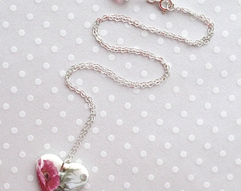 """SALE! Heart Necklace. Porcelain. Poppies. Glass Beads. Red. 18"""" Sterling Chain. Hot Pink. Magenta. Green. White. Gray. Ceramic. Flowers"""