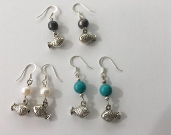 Silver Pearl Fish Earrings