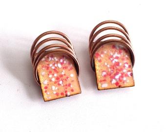 Modernist Copper Earrings, Vintage MATISSE Earrings, Enamel Copper Earrings, MCM Jewelry, Geometric Clip Earrings, Vintage Copper Jewelry