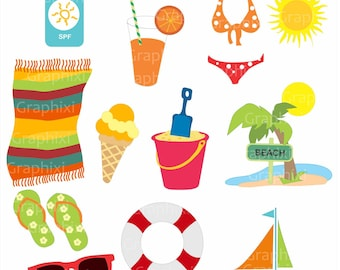 Clipart summer, clipart holiday, clipart commercial use, kids vector, vacation kids digital clip art, digital images, DIGITAL CLIPART