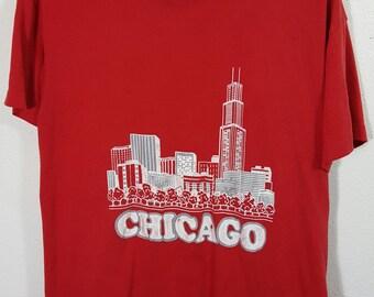 Vintage 70s Chicago Skyline T-shirt Size Meduim