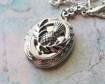 Thistle Locket Necklace, Scottish Thistle Locket, Scottish National Emblem Pendant, Thistle Bird Locket, Thistle Flower Necklace, Garden