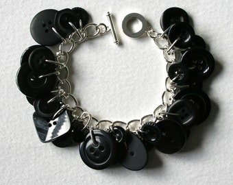 Button Charm Bracelet All Black Vintage and New Buttons