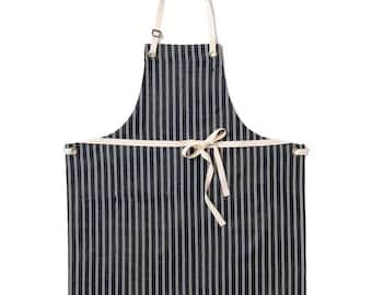 Japanese Stripe Denim Bib Apron