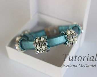 PDF tutorial beaded bracelet with leather cord_Swarovski crystals_seed beads_beading_easy pattern