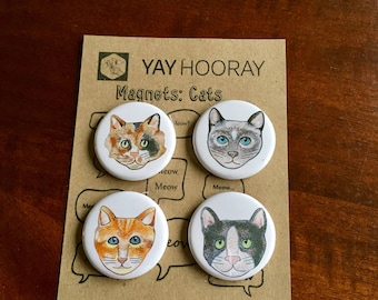Cats, pin button badges, magnets hand drawn illustrations