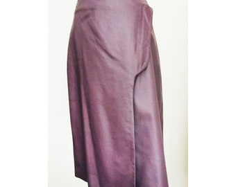 The NORA Skirt .  Purple Leather Skirt . Size M .  Knee Length Wrap Skirt . Spring Fashion . US Free Shipping