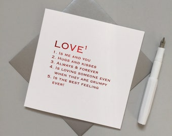 Love definition card - Valentine's day card - Wedding card - Romantic card for wedding, anniversary - Birthday card for wife or Husband