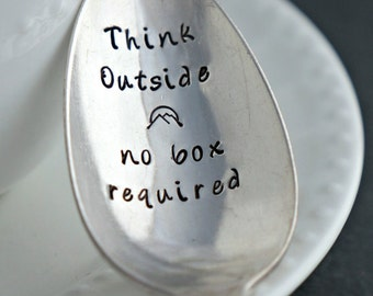 Stamped Spoon, Think Outside Silverplate Spoon, Unique Coffee or Tea Gift, Inspirational Gift for Friend or Family Member Who Loves Outdoor