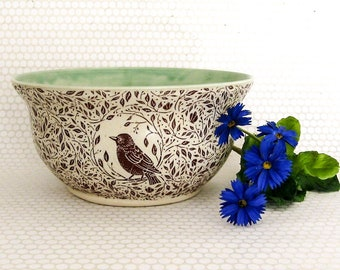 Serving Bowl - Fruit Bowl - Large Ceramic Bowl - 5 Cups - Hand Made Stoneware Bowl