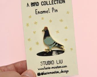 Pigeon Hat cool enamel pin
