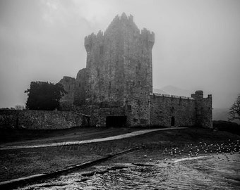Irish Castle Photo, Architecture Art, Castle Photography, Ring Of Kerry, Fog Photograph, Black And White Photo, Ireland Photography