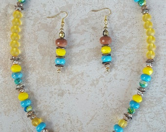 Sea Glass and SunStone Necklace and Earring Set