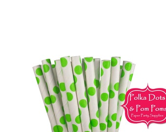 25 GREEN Large Polka Dot Paper Drinking Straws / Birthday Party Decoration Ideas and Supplies / Wedding