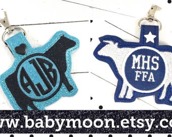 Cow or Steer silhouette - heifer or bull monogram keyfob - personalized keychain - Monogrammed gifts -best gifts for her - rodeo stock show