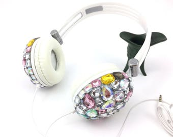 Blingustyle multicolor big iridescent crystal fashion ear-cup headphone with mic