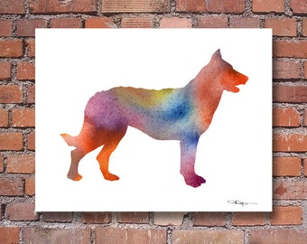 Beauceron Art Print - Abstract Watercolor Painting - Wall Decor