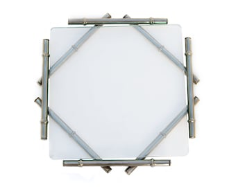 Vintage Chrome and Glass Faux Bamboo Trivet