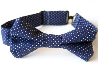 Navy Blue Polka Dot Bow Tie, navy boys bow tie, navy bow tie, navy polka dot bow tie, ring bearer bow tie, navy blue tie, men's navy bow tie