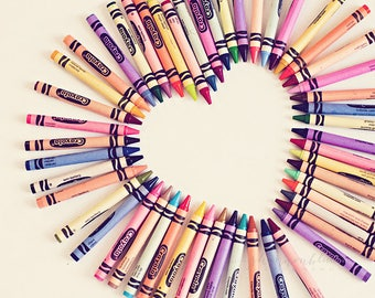 heart love photography / crayons, color, rainbow, personalize, valentine's day / love in every color / 8x10 fine art photo