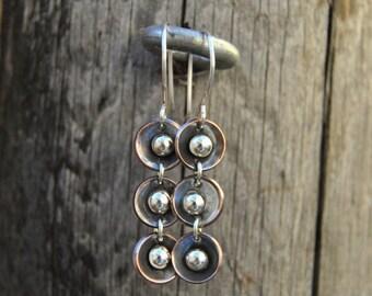 Copper Dangle Earrings, Hammered Copper Earrings, Mixed Metal Earrings, Rustic Earrings, Artisan Earrings