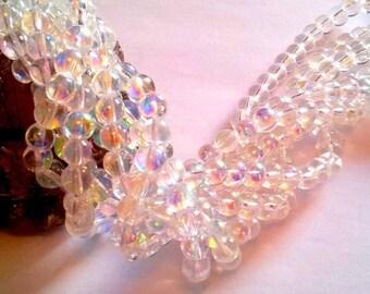 Set of 100 Crystal AB (iridescent) 6mm round beads