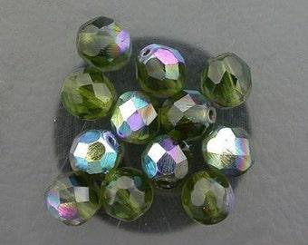 12  dark olivine  ab czech fire crystal beads 8mm