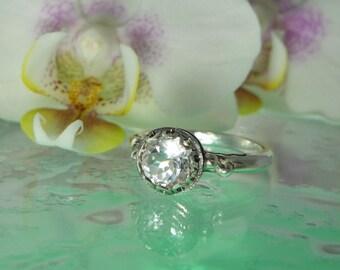 Herkimer Diamond Ring, Herkimer Diamond, Gemstone Solitaire Ring, April Birthstone Ring, April Birthday Gift, Engagement Ring, Promise Ring