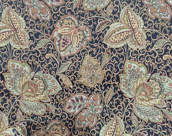 Black Floral Upholstery - Upholstery Fabric by the Yard