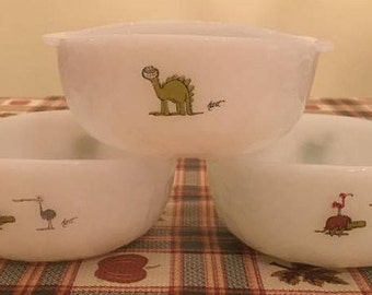 Set of 3 vintage Fireking by anchor hocking cereal bowls; dinosaur and turtle